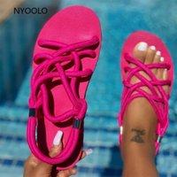 Sandálias nyorolo 2021 corda sapatos mulher trançada com tradicional criatividade moda flats sandal mulheres praia sandalias