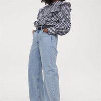 Kadın Bluzlar Gömlek ZXJ Kadınlar 2021 Moda Ekose Fırfır Trimler Gevşek Vintage Uzun Kollu Düğmeli Kadın Blusas Chic Tops