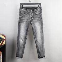 Мужские джинсы дизайнерские многоуровневые серые брюки плюс размер 28-42 повседневные летние летние тонкие брюки регулярные брюки последнее листин мода тонкий бизнес деловой отдых джин