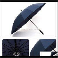 Umbrellas Long Handle Straight 16K Windproof Solid Color Pongee Women Men Sunny Rainy Umbrella Customized Logo Dh0803 Zzxfz Wuoks