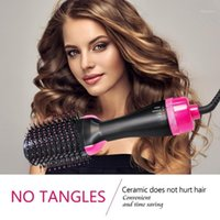 Gold Comb One Step Air & Volumizer Blower Ion Straightener And Curls Hairdryer Styling Brush Salon Blow1