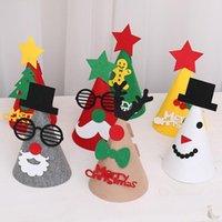 Kapaklar Şapka Karikatür Keçe Kumaş Noel Bebek DIY Oyuncak Çocuk Çocuk Cap Santa Elk Zanaat Malzemeleri Malzemeleri Kız Erkek Festivali Parti Hediye