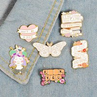 에나멜 키보드 공예 배지 소녀 나비 배너 브로치 가방 데님 셔츠 옷깃 핀 낭만적 인 꽃 쥬얼리
