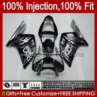 Injectie Mold Kit voor Kawasaki Ninja ZX-636 ZX600 ZX 6R 6 R 600 CC 03-04 Body 8NO.98 ZX 636 600CC ZX6R 03 04 ZX600C ZX636 ZX-6R 2003 2004 FACKING OEM Carrosserie Silvery Flames