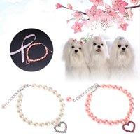 Pet Collar Pérola Colar Cachorro Cachorro Cat Bowknot Coleiras de Identificação Ajustável Personalizado