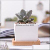 Planters Pots Supplies Patio, Lawn Garden Home & Gardensimple White Creative Mini Suent Plant Ceramic Right Angle Small Square Match Bamboo