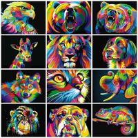 Azqsd Kedi Boyama Renkli Hayvanlar Elmas Nakış Köpek Kaplan Aslan Tam Kare DIY Çapraz Dikiş 5D Ev Dekor Hediye