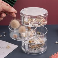 Storage Boxes & Bins Jewelry Box Multilayer Rotating Plastic Stand Earrings Ring Cosmetics Beauty Container Organizer With Mirror
