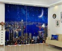 Babson City Moon 3d الطباعة الرقمية ستارة DIY المناظر الطبيعية PO المتقدمة مخصص الستائر