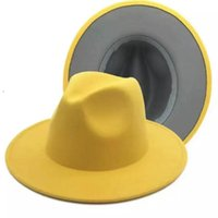 Wide Brim Hats Yellow Gray Patchwork Wool Felt Jazz Fedora Hat Women Unisex Panama Party Trilby Cowboy Cap Men Gentleman Wedding