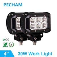 2pcs 4 인치 오프로드 LED 라이트 바 30w 작업 램프 근처 멀리 자리 홍수 12V 24V 트레일러 6 초 자동차