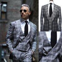 Modern Design 3 Piece Men Suit Grey British Plaid Wedding Tuxedos Customized Fit Party Suits Handsome Formal Coat+Pant+Vest