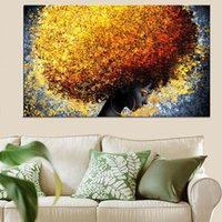 Paintings Black African Woman Abstract Canvas Posters And Prints Golden Wild-Curl Up On The Wall Art Pictures