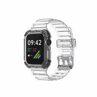 For Apple Smart Straps Series 6 1 2 3 4 5 TPU bracelet 38mm 40mm 42mm 44mm Integrated Transparent Watch Band & Case