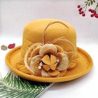 Stingy Brim Hats Spring Winter Women Floral Wool Cap Fedoras Stylish Western Bucket Warm Female Bowler