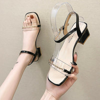 버클 스트랩 블록 발 뒤꿈치 여성 샌들 PVC 신발 MED 2021 여름 Espadrilles 플랫폼 chunky 여자 플라스틱 베이지 색 중간 높은 fas 샌들