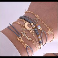 Other Jewelrykimter Bohemian Summer Bracelet Alloy 6Pcs Set Charm Pentagram Moon Letter Pendant Bangle Beach Woven Bracelets Women Girls Jewe