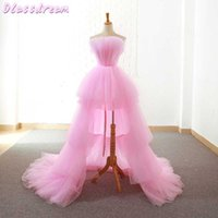 Pink Homecoming Dresses 2020 Short Front Long Back Prom Dress Graduation Evening Gowns Tiered Layers Women Formal Party Dress H0916
