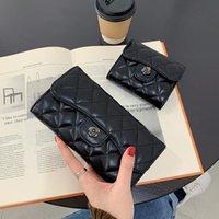 공장 도매 여성 핸드백 우아한 분위기 격자 무늬 긴 지갑 접이식 다기능 스트라이프 스토리지 지갑 조커 가죽 패션 지갑