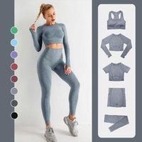 Yoga Outfit Seamless Women Set High Waist Pants Gym Clothing Sportswear Sport Shorts Sports Bra T-shirt Workout