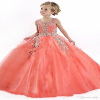 Girl's Dresses 3D Floral Appliques Pearls Flower Girl Backless Sheer Neck Tulle Little Girls Pageant Birthday Gowns