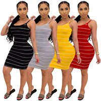 Women Striped Mini Camisoles Dresses S-2XL one-piece dress Backless Sleeveless skirts Casual Sexy Summer Clothing bodycon miniskirt Sleep Pajama Lounge wear 159