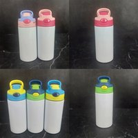 Sublimation Stainless Steel Tumblers cups 12oz Children 350ml lnsulated Sippy water bottle Steel Sublimation Blanks with nipple lid cup