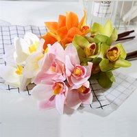 Fleurs décoratives Couronnes 4pcs Faux FLOUX FLEUR ORCHID SIMLEUX ARTIFICIAL PO POP