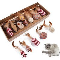 Cat Toy Mice Animal Toys Feather Wood 7 Pcs Set Gift Pack For Kittens Playing Interactive Funny Vocal Amusing Ball Game Pets