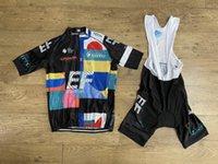 2021 EF Eğitim İlk Takım Nippo Italia Kısa Kollu Bisiklet Jersey Yaz Giyim Ropa Ciclismo + Bib Şort Güç Bandı ile 20D Jel Pad