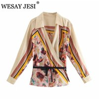 Camisas de las blusas de las mujeres Wesay Jesi Verano 2021 Fashion Chic Chic Impreso y manga larga Elegante camisa del kimono del vintage