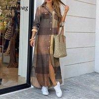Frauen abwickeln Kragen Hemd Langes Kleid Sommer Elegante Button Party Kleid Beiläufige Frühling Langarm Strand Maxi Kleid Vestido T200914