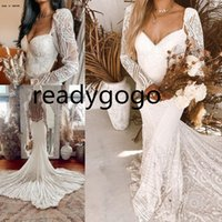 Vintage Crochet Cotton Lace Wedding Dresses 2022 Sexy Long Sleeve Backless Mermaid Sweetheart bohemian Beach Wedding Bridal Gown
