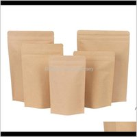 Bags Storage Housekeeping Organization Home & Garden Drop Delivery 2021 Zipper Brown Aluminizing Pouch,Stand Up Kraft Paper Aluminium Foil Ba