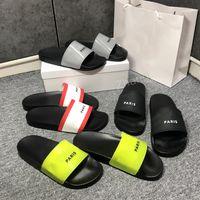 2021 Top Quality Men's Women's Women's Sandals Sapatos Slide Summer Moda Flat Flip Flops com Baixa Tamanho EUR36-EUR46