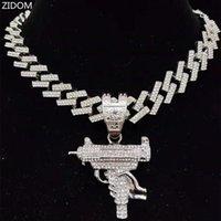 Pendant Necklaces Men Women Hip Hop Iced Out Bling Submachine Gun Necklace 13mm Rhombus Cuban Chain HipHop Fashion Charm Jewelry