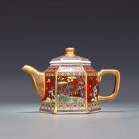 Jingdezhen Antik Qianlong Emaye Altın Çaydanlık Saplı Altıgen Çaydanlık Çiçekler ve Kuşlar Desenli Antik Seramik Tencere