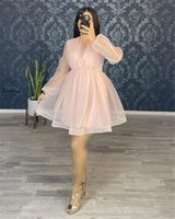 Simple Pink Organza Short Prom Dresses Long Puff Sleeves High Neck Above Knee Length Cocktal Party Gowns Plus Size cocktail