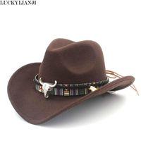 Luckylianji طفل كيد الصبي فتاة الصوف شعرت 100٪ الغربية رعاة البقر قبعة واسعة بريم راعية البقر رئيس الجلود الفرقة (واحد الحجم: 54 سم)