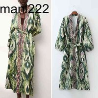 ZA Summer Donne Donne Kimono Dress con Blet Moda Flora Floral Stampato Ufficio Lady Long Party Vestido Elegant Girls Causal Autuits