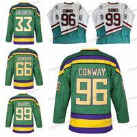 Mighty Ducks Hokey Jersey 66 Gordon Bombay 96 Charlie Conway 99 Adam Bankaları 33 Greg Goldberg Formalar Erkek Film Dikişli Beyaz Yeşil