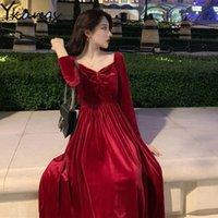 Vintage negro rojo sexy vestido de terciopelo sin espalda mujer vintage plus size a-line maxi noche vestido de fiesta elegante niñas calle streetwear 210412
