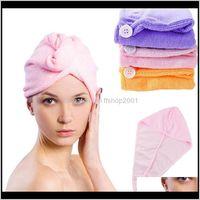 Shower Caps Bathroom Aessories Bath Home & Gardenwholesale- Microfiber Solid Turban Quickly Dry Hair Womens Girl Cap Bathing Tool Drying Tow