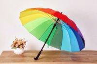 Rainbow Umbrella Long Handle 16K Straight Windproof Colorful Pongee Umbrella Women Men Sunny Rainy Umbrellas