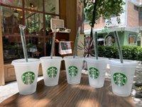 Starbucks 16oz 473ml Plastic Tumbler Reusable Clear Drinking Flat Bottom Cups Pillar Shape Lid Straw Mug Bardian