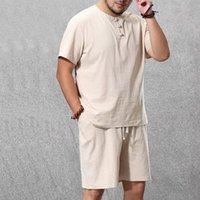 Men's Tracksuits Clothing Large Size Tracksuit 8XL 9XL Linen Short T-shirt Summer Suit Plus Track 5XL Cotton Husband Set