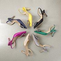 2021 اللباس أحذية مصمم الصيف النساء عالية الكعب الصنادل الأحذية سيدة العمل المهني وليمة المناسبات الرسمية مثير امرأة مثيرة متعددة الألوان حجم كبير 35-41