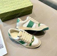 فرز الأحذية الأحمر الأخضر شريط إيطاليا خمر فاخر مصمم أحذية رياضية المدربين الرياضة عارضة الأحذية المتعثرة القذرة جلد حذاء