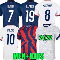 2021 Соединенные Штаты Футбольные трикотажные трикотажные 2022 Соединенные Штаты США Пулисий DEST McKennie Reyna Adams Weah Musah Loltget National 21 22 Men Kids Kit Футбольные рубашки Фанаты
