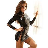 슈퍼 섹시한 라텍스 cheongsam bodysuit 란제리 바디 슈트 여성 섹스 속박 바디 스타킹 에로틱 가죽 긴 소매 복장 L0407